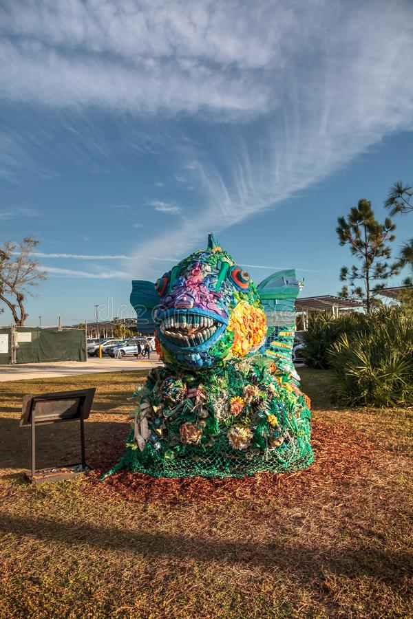 Free Priscilla The Parrot Fish Sculpture Made Of Garbage Found In The Ocean As Part Of The Washed Ashore Art Exhibit Stock Image - 135226441