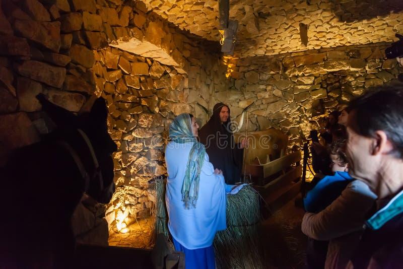 Priscos Portugal - December 29, 2016: Störst uppehälle eller levande julkrubba i Europa royaltyfria foton