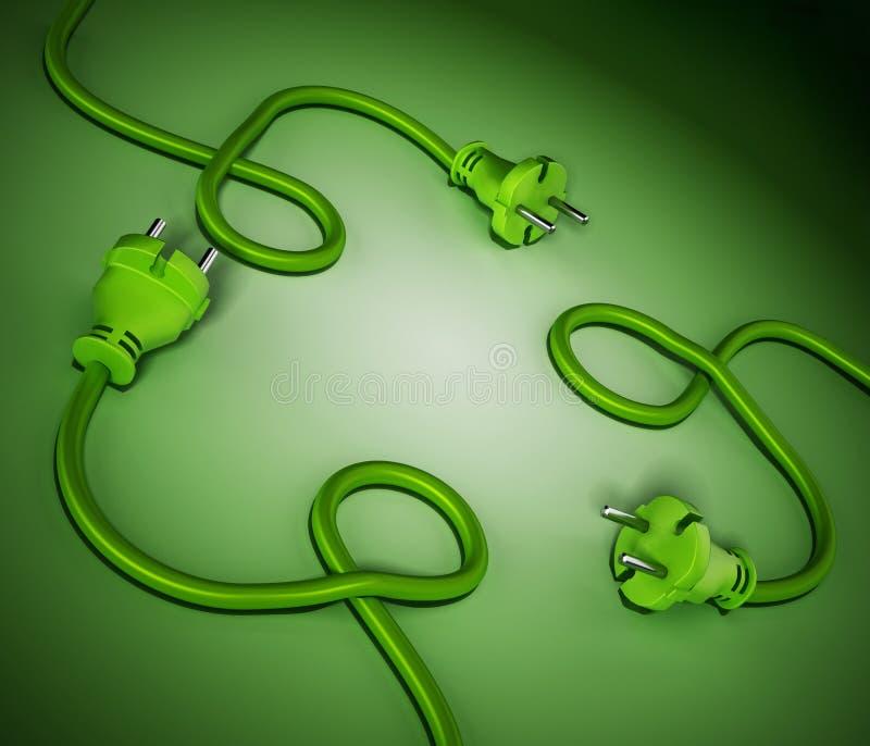 Prise électrique et câbles formant un symbole de réutilisation illustration 3D illustration de vecteur