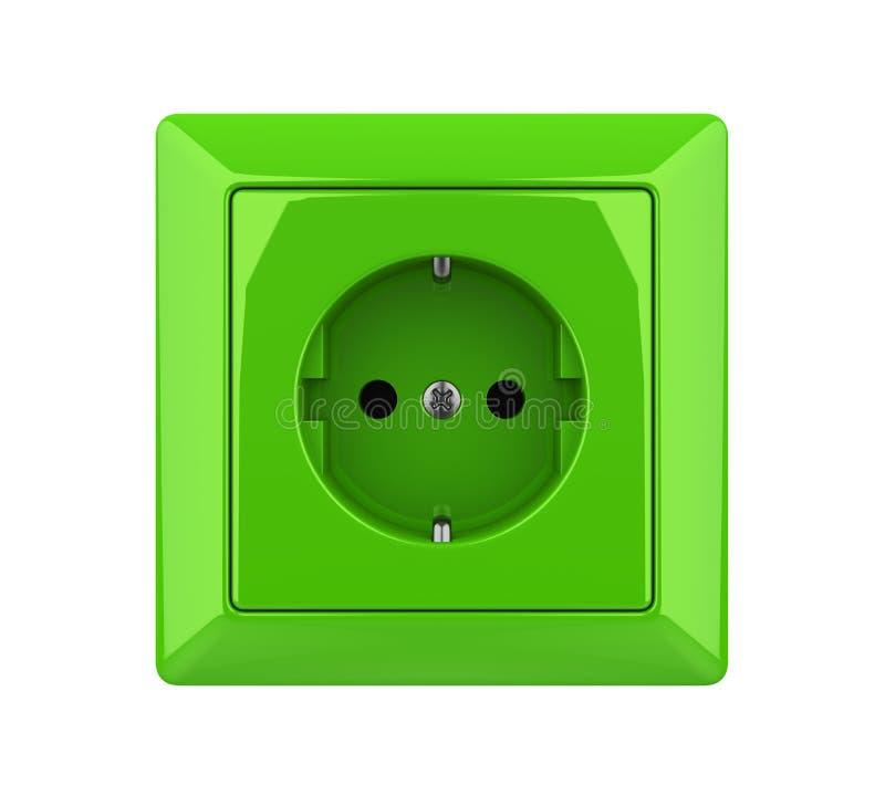 Prise électrique verte d'isolement illustration libre de droits