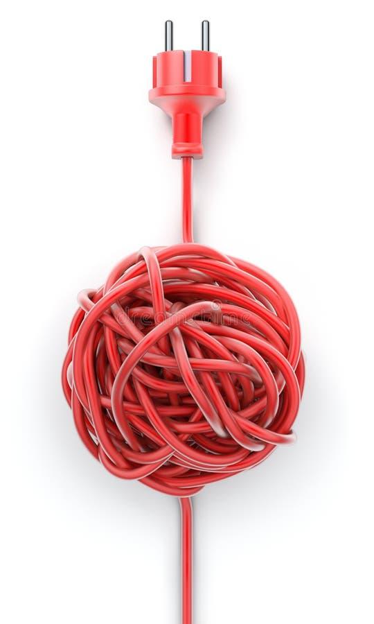 Prise avec le câble noué illustration stock