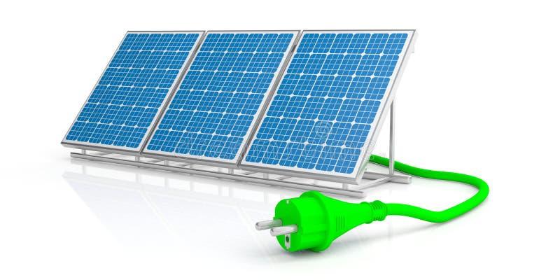 Prise d'énergie verte et panneau solaire d'isolement sur le fond blanc illustration 3D illustration de vecteur