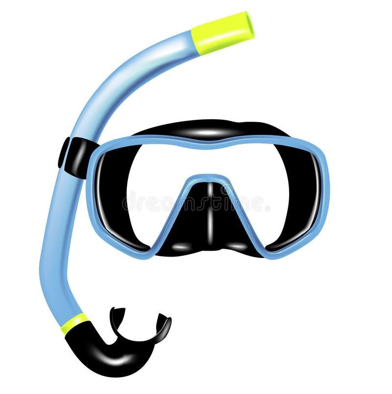 Prise d'air et masque pour la plongée illustration de vecteur