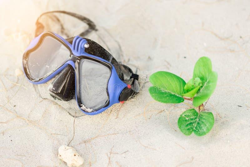 Prise d'air, masque pour le scaphandre conduisant sur la plage de sable photos stock