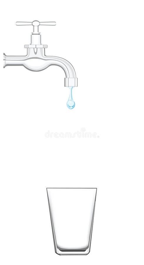 Prise d'eau avec de l'eau égoutture illustration stock
