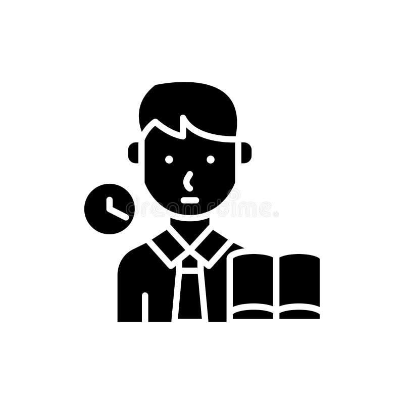 Prise d'un concept d'icône de noir d'examen Prenant à un examen le symbole plat de vecteur, signe, illustration illustration libre de droits