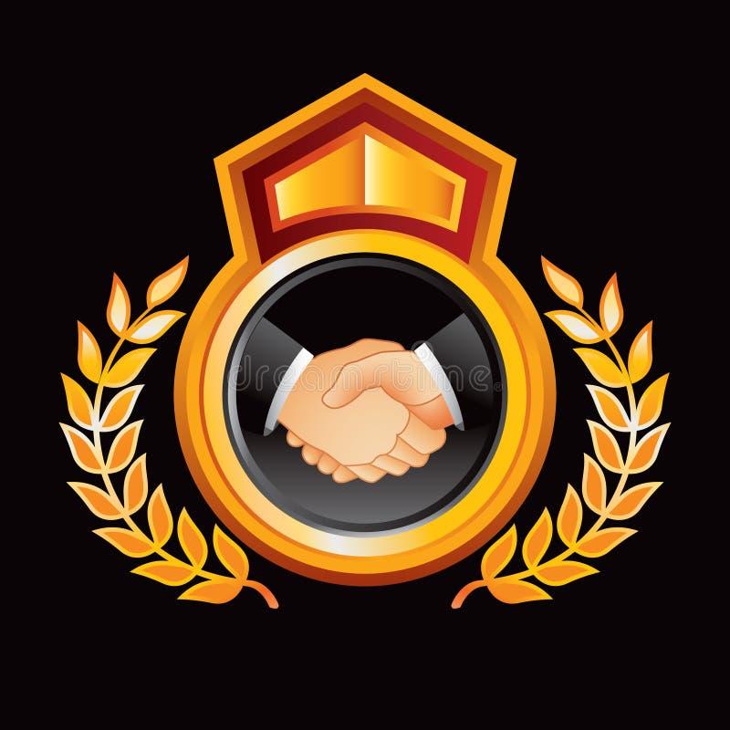 Prise de contact d'affaires dans la crête royale d'or illustration de vecteur