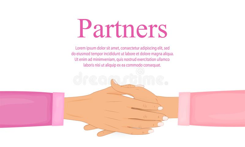 Prise de contact des associés Se serrer la main Symbole d'atteindre un accord, un succès et une coopération Vecteur plat illustration stock