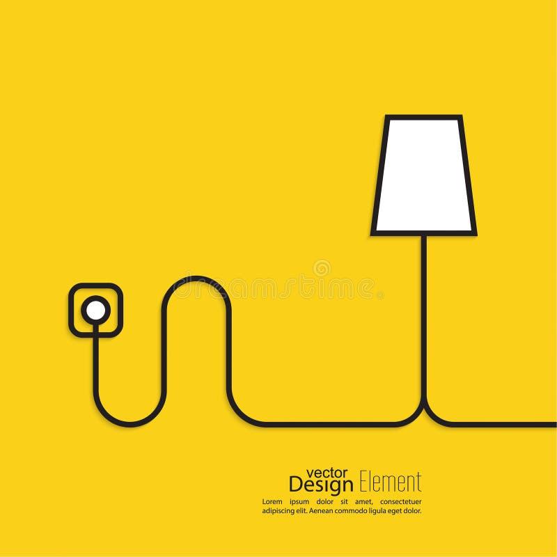 Prise de courant reliée par fil de lampadaire illustration libre de droits