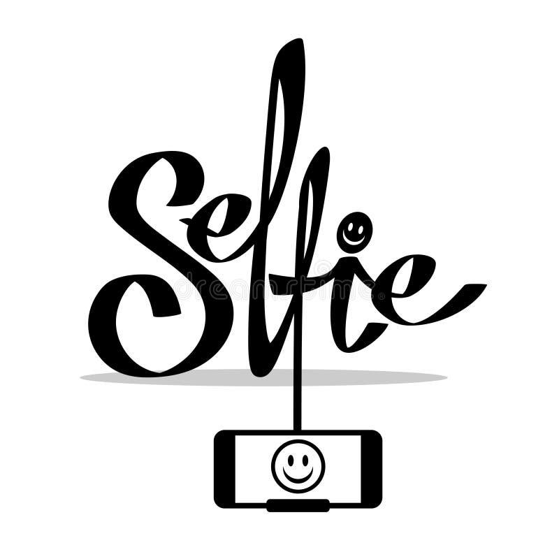 Prise de la photo de Selfie sur l'illustration futée de concept de téléphone Vecteur illustration stock