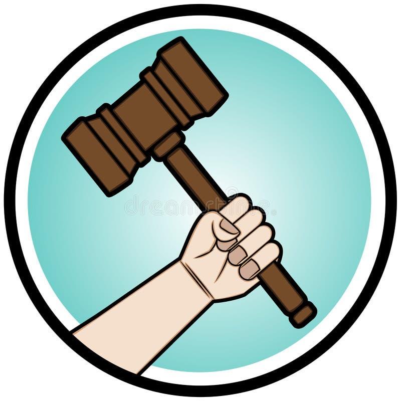 Prise de main un juge Gavel illustration stock