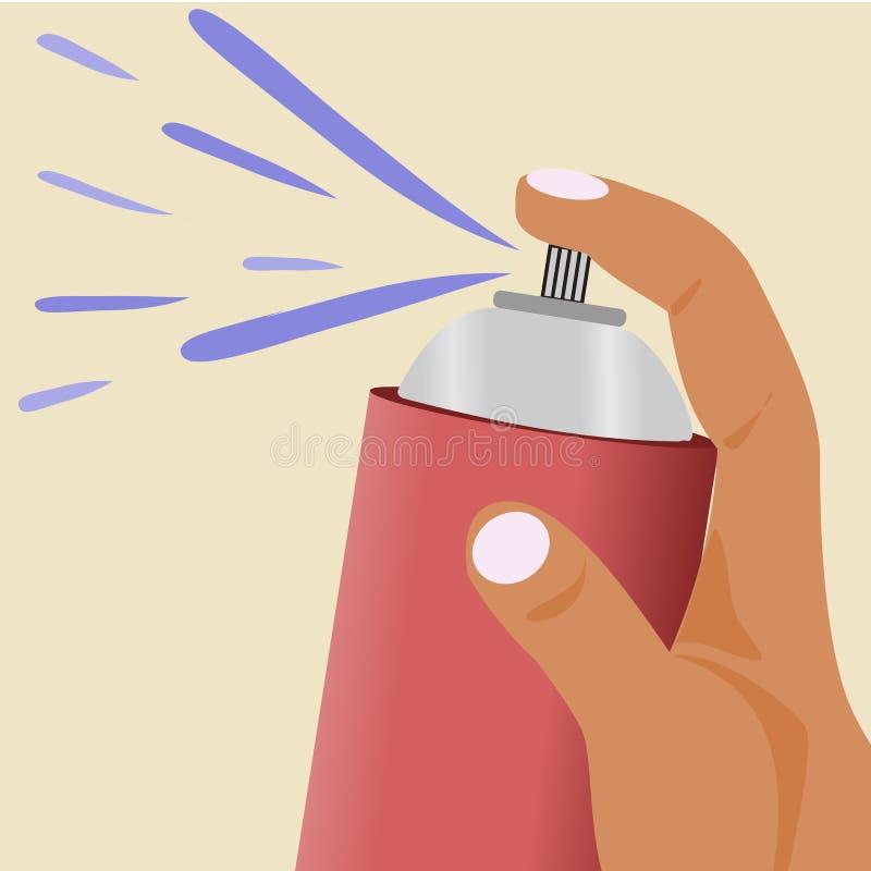 Prise de main une bouteille de jet à se débarasser des insectes illustration libre de droits