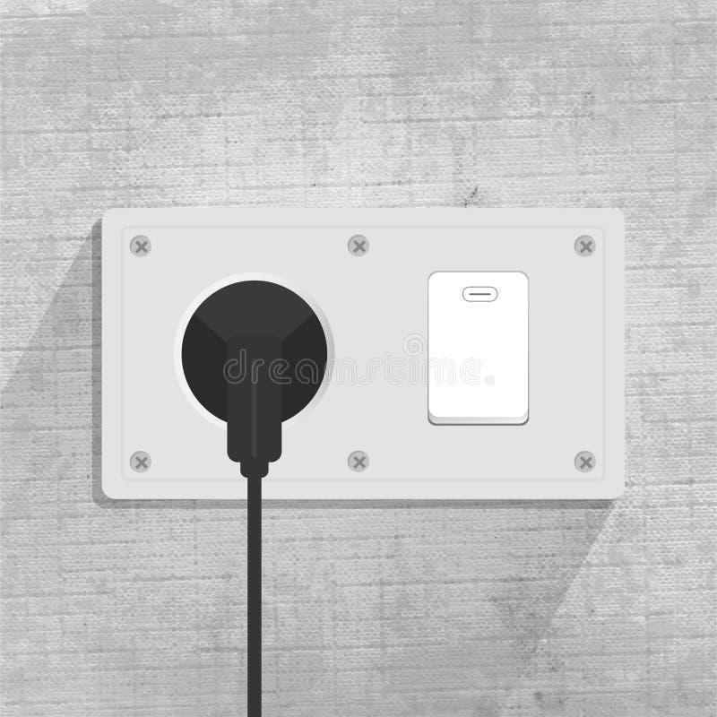 Prise de puissance Commutateur l?ger Relier la prise Fond gris illustration libre de droits