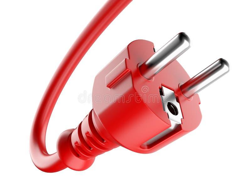 Prise de puissance rouge et câble électrique illustration libre de droits