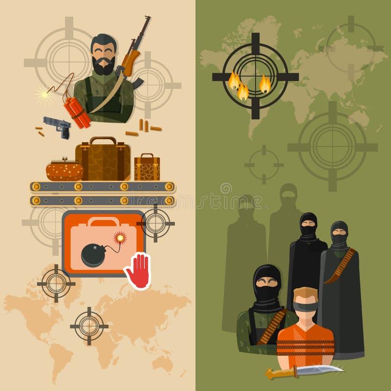 Prise de terrorisme des bannières globales de menace de terreur d'otages illustration stock