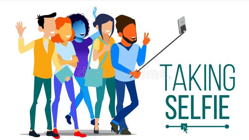 Prise du vecteur de Selfie Hommes, rire de femmes Concept de portrait de photo Appareil-photo d'individu concept de la jeunesse A illustration de vecteur