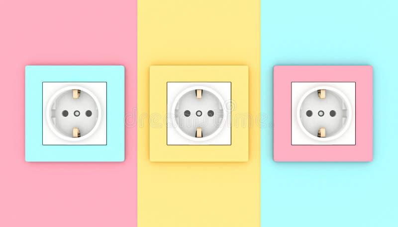 Prises électriques de mur illustration de vecteur