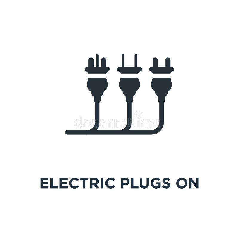 prises électriques sur l'icône blanche prises électriques sur le concept blanc sy illustration de vecteur