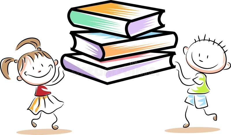 Prises d'enfants avec des livres illustration de vecteur