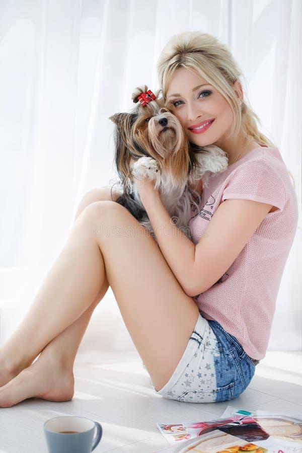 Prises de fille sur des mains Yorkshire Terrier photo stock