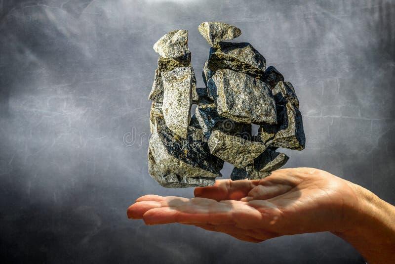 Prises les pierres psychiques avec la puissance de la pensée image stock