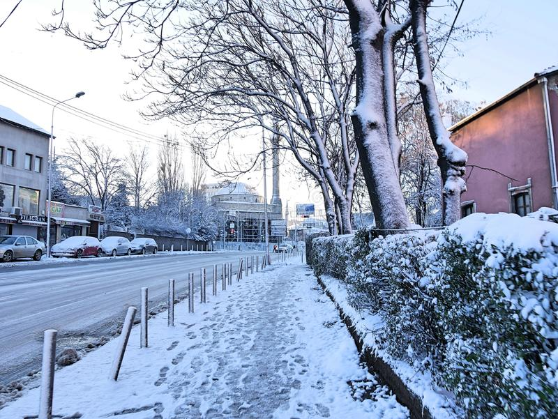 Prishtina sotto neve fotografia stock libera da diritti