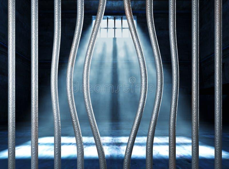 Prisión 3d y barra de metal doblada stock de ilustración