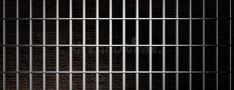 Prisión, barras de la cárcel en el fondo oscuro de la pared de ladrillo, bandera ilustración 3D stock de ilustración