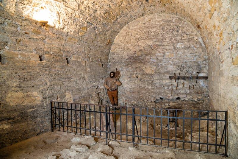 Prisión medieval en la fortaleza de Baba Vida imagenes de archivo