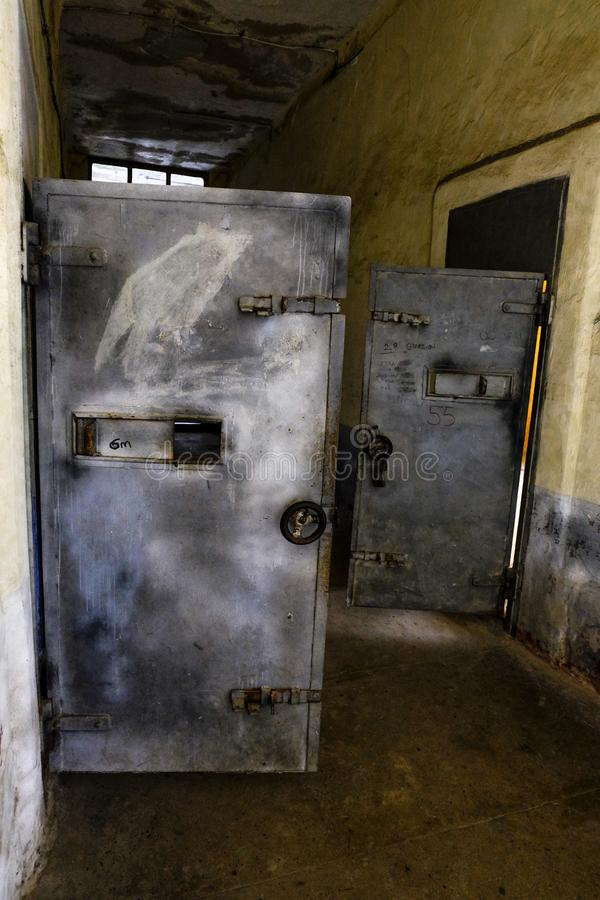 Open prison iron doors stock photos