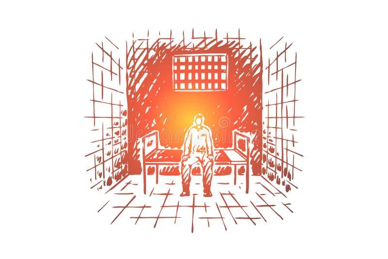Prisioneiro atr?s das barras, interno que senta-se na cama na pilha de cadeia, a institui??o correcional, sistema de justi ilustração royalty free