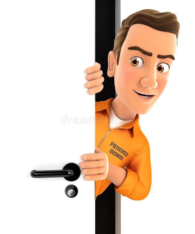 prisioneiro 3d que espreita atrás de uma porta ilustração stock