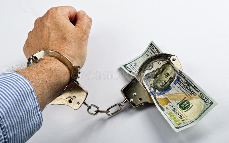 Prisioneiro do dinheiro. imagens de stock royalty free