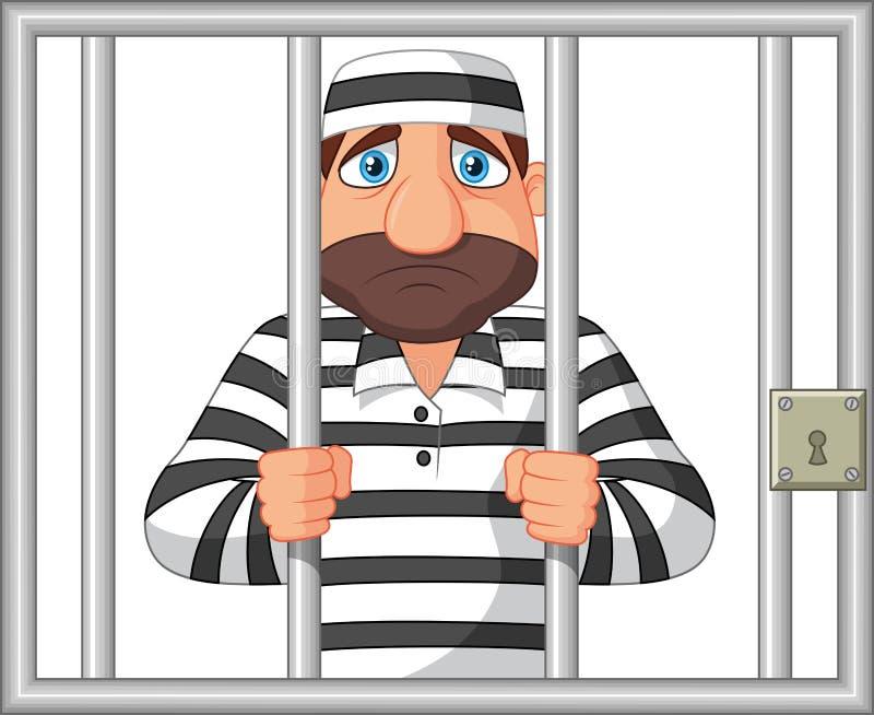Prisioneiro dos desenhos animados atrás da barra ilustração do vetor