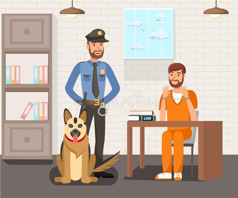 Prisioneiro e agente da polícia Flat Illustration ilustração do vetor