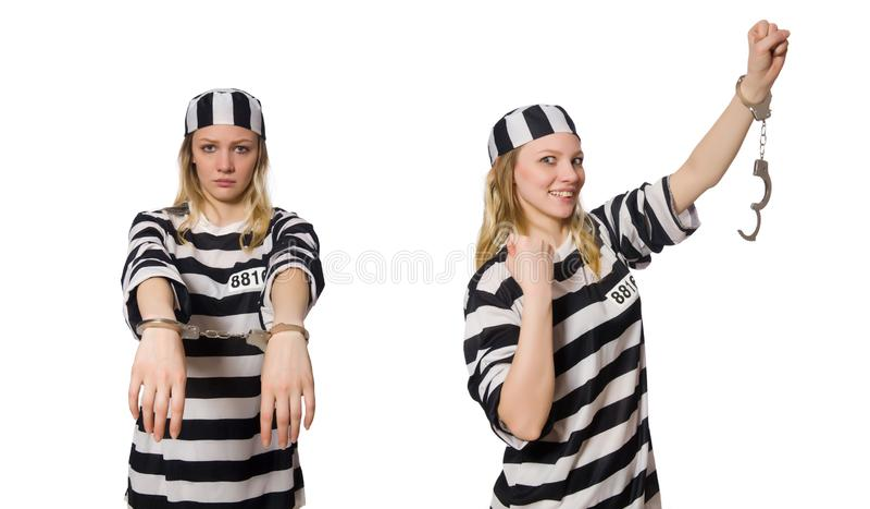 Prisioneiro isolado no fundo branco imagens de stock royalty free
