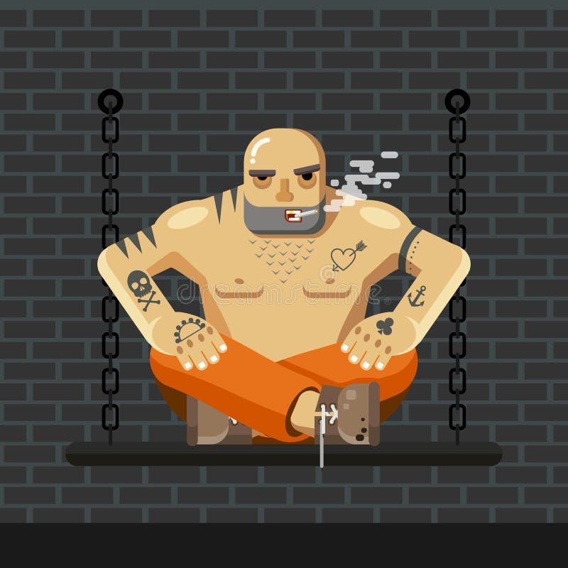 Prisioneiro liso O homem na prisão alaranjada veste o assento em um banco com corrente e fumo - vector a ilustração ilustração do vetor