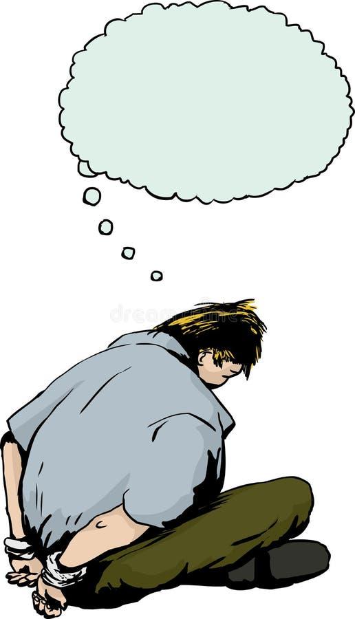 Prisioneiro louro algemado com bolha do pensamento ilustração stock