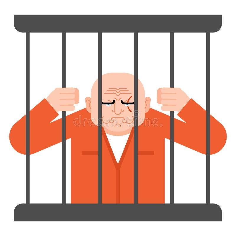 Prisioneiro na cadeia aferrar-se do condenado às barras ilustração stock