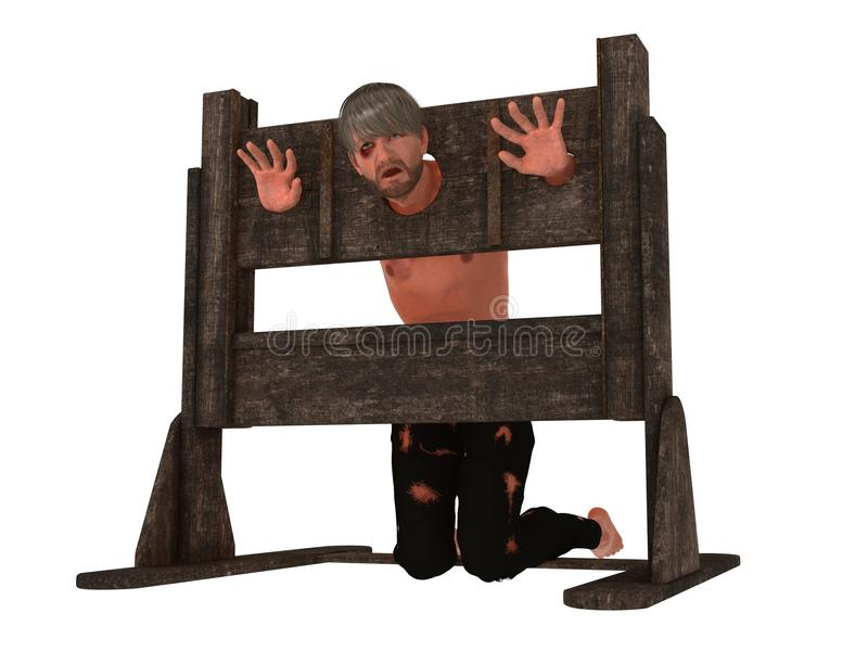 Prisioneiro no pillory ilustração royalty free