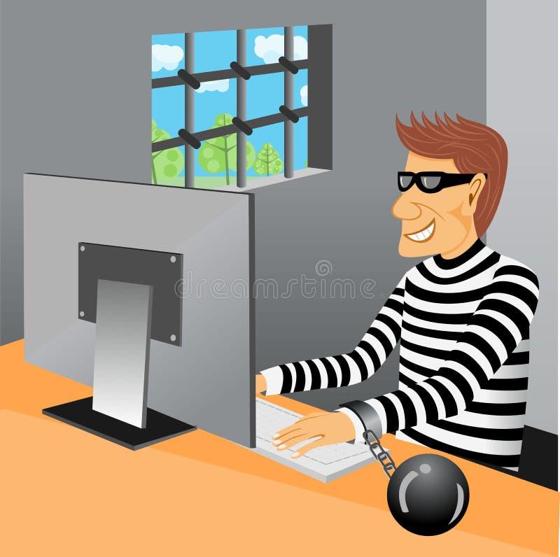 Prisioneiro que senta-se em sua cela ilustração do vetor