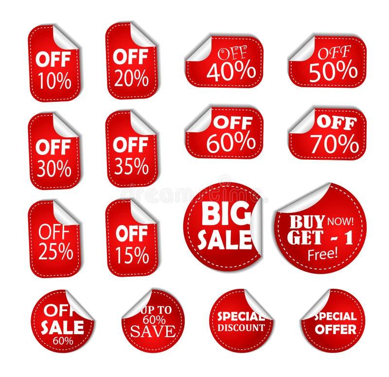 Prislapp för baner för Sale rabattsakkunniga, halv klistermärke av, symbol för räddningprocentkupong stock illustrationer