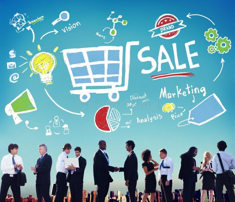 Prislapp för Sale marknadsföringsanalys som brännmärker visionaktiebegrepp royaltyfri bild
