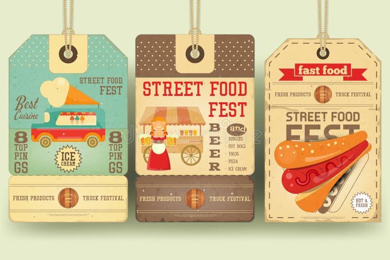 Prislappar för gatamatfestival vektor illustrationer