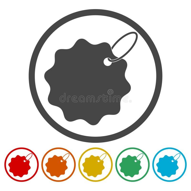 Prislappsymbolsuppsättning royaltyfri illustrationer