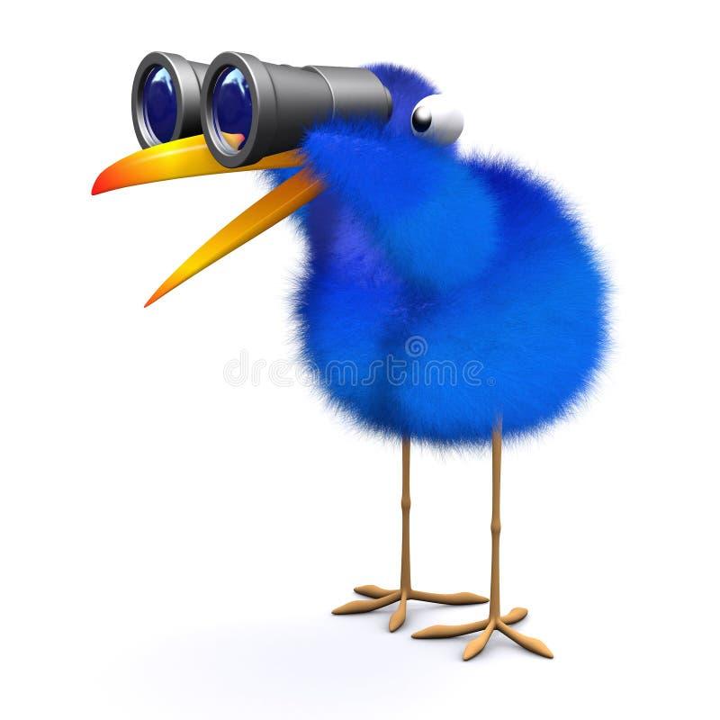 prismáticos azules del pájaro 3d libre illustration