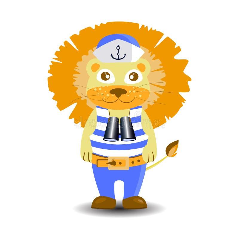 Prismáticos del marinero del león ejemplo de los niños s stock de ilustración