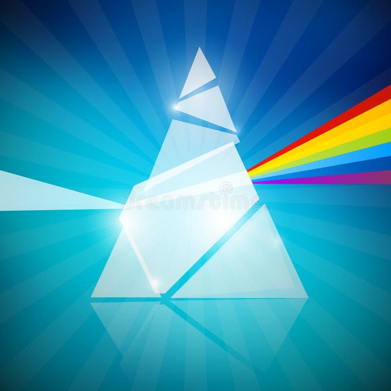 Prism Spectrum Illustration. On Blue Background royalty free illustration