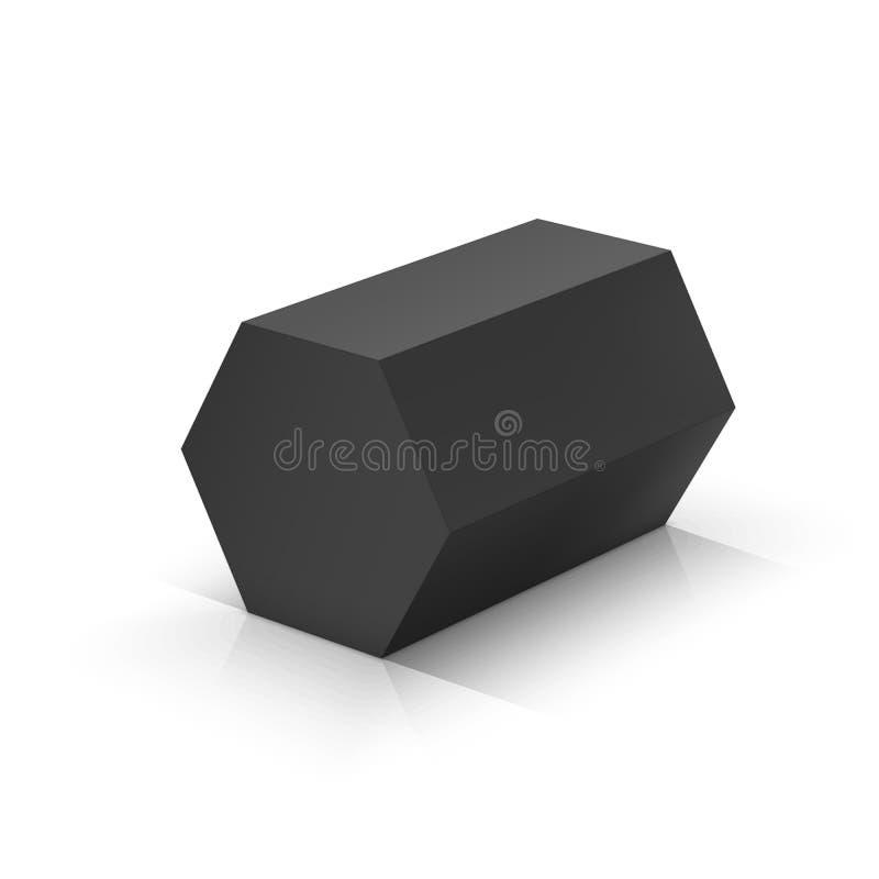 Prisma esagonale nero illustrazione di stock