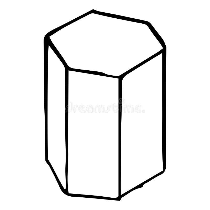 Prisma esagonale Schizzo, disegno della mano Profilo nero su fondo bianco Illustrazione di vettore illustrazione di stock